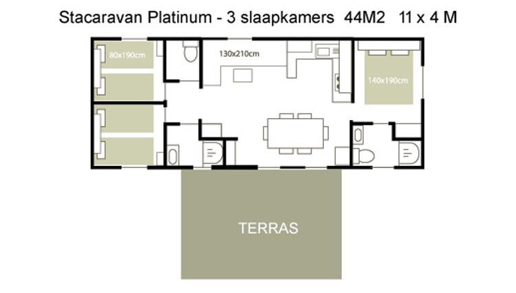 Stacaravan Platinum - plattegrond
